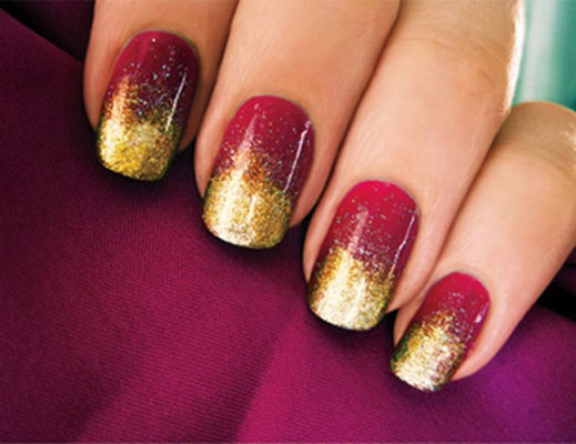 Gold Speckled Nails