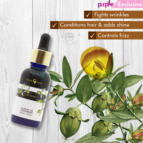 carrier oils for hair. buy good vibes natural carrier oil jojoba (30 ml)-purplle oils for hair