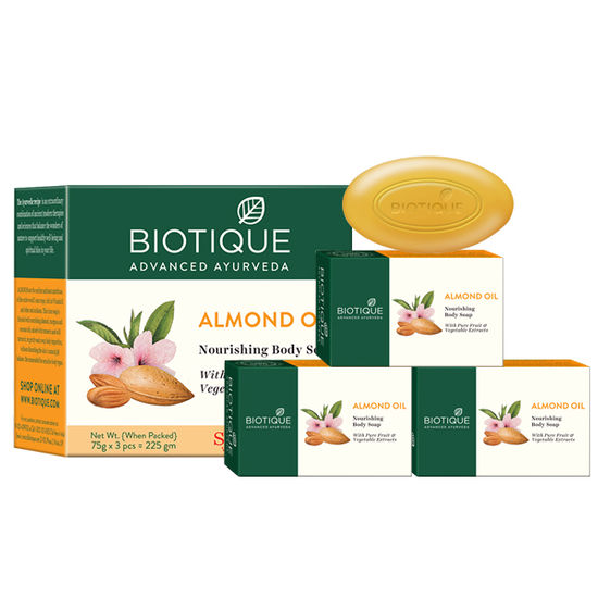 Buy Biotique Bio Almond Oil Nourishing Body Soap (75 g X 3)-Purplle