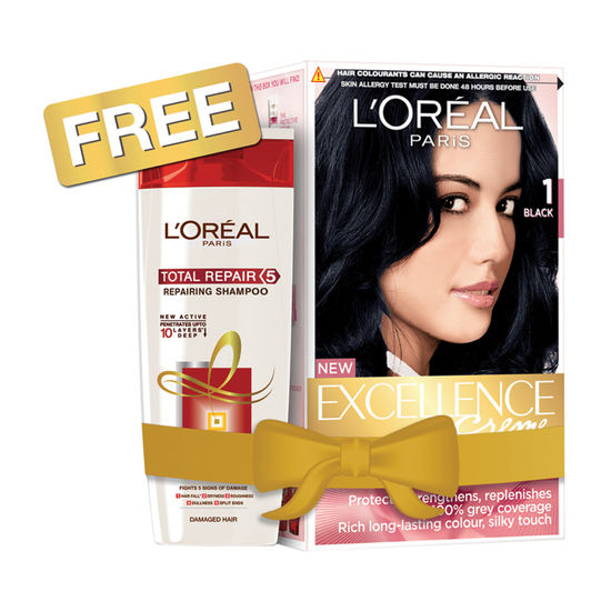 loreal paris excellence hair color shade 1 get total repair 5 shampoo 175 ml free - Coloration Belle Color