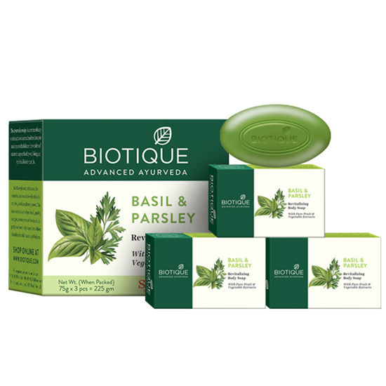 Buy Biotique Bio Basil And Parsley Body Cleansers (75 g X 3)-Purplle