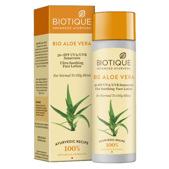 Buy Biotique Bio Aloe Vera SPF 30+ Sunscreen Ultra Soothing Face Lotion (120 ml)-Purplle