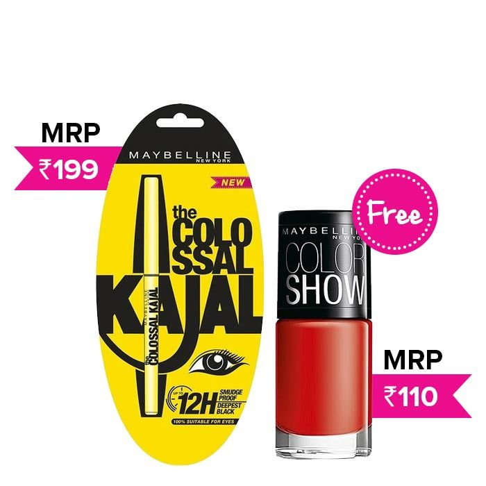Buy Maybelline Colossal Kajal (0.35 g) + Maybelline Color Show Nail Color Keep Up The Flame 215 (6 ml)-Purplle