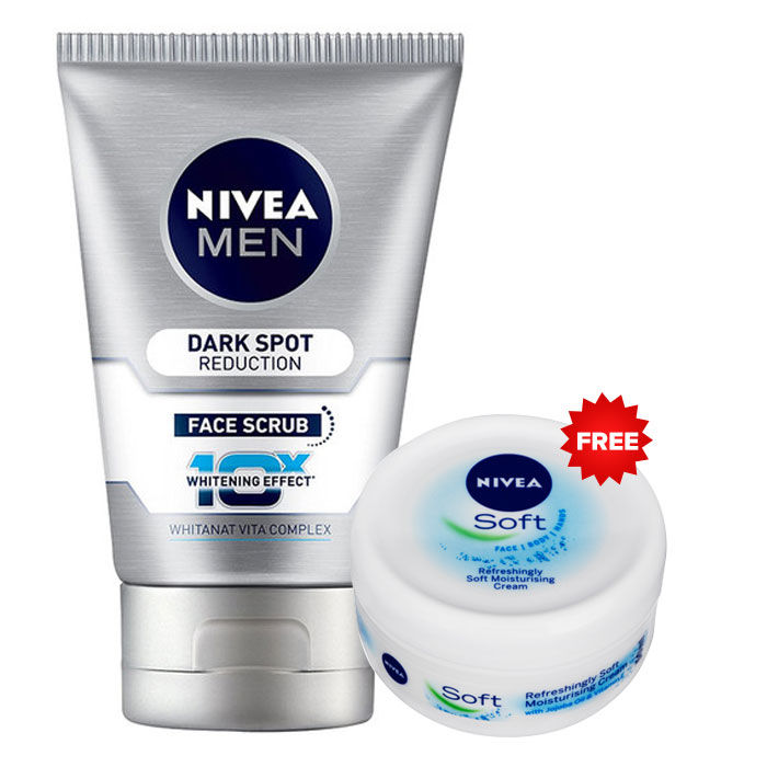 Buy Nivea Men Dark Spot Reduction Face Wash Scrub (100 ml) + Nivea Soft Creme FREE-Purplle