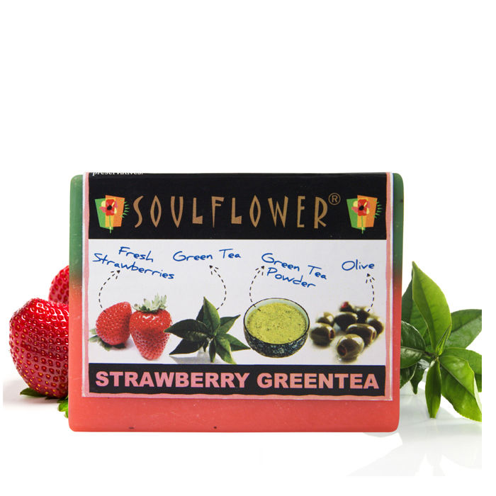 Buy Soulflower Soap Strawberry Green Tea (150 g)-Purplle