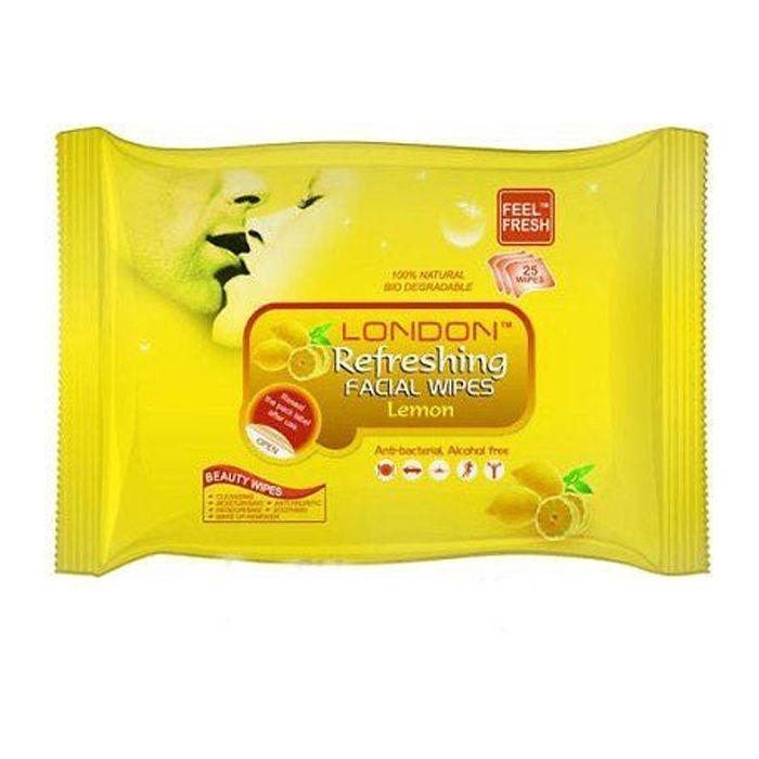 Buy London Refreshing Facial 25 Wipe Wet Face Tissue Cleansing Moisturising - Lemon-Purplle