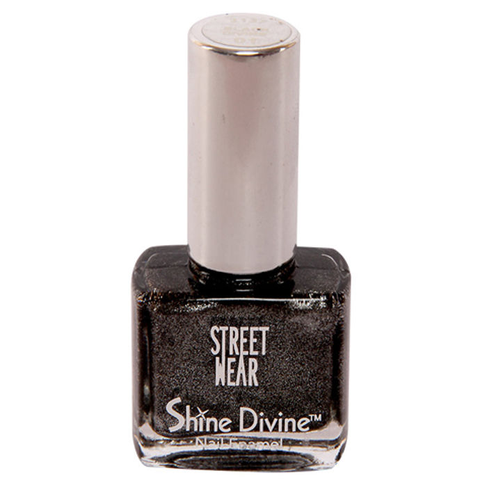 Buy Street Wear Shine Divine Nail Enamel Black Divine 01 ( 9 ml)-Purplle