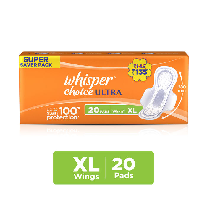 Whisper Choice Ultra Wings Sanitary Pads Extra Large Size 20 pc Pack