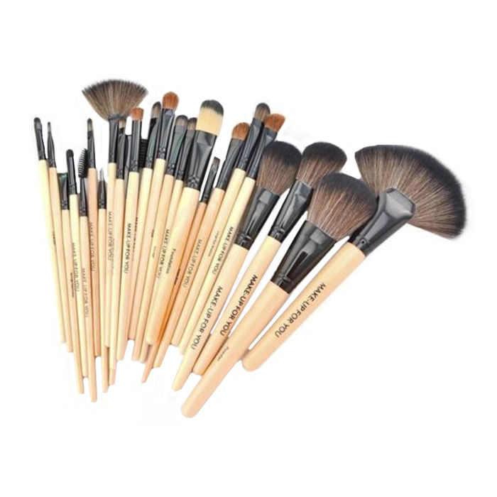 cosmetic brush set. buy puna store cosmetic makeup brush set - 24 pieces with black leather case-purplle k