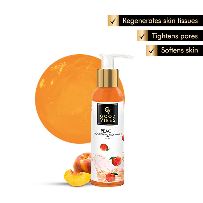 Buy Good Vibes Nourishing Face Wash - Peach (120 ml)-Purplle