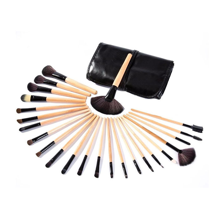 7d166f6c5320 Salon Palette 24 Pieces Make Up Brushes With A Black Leather Case