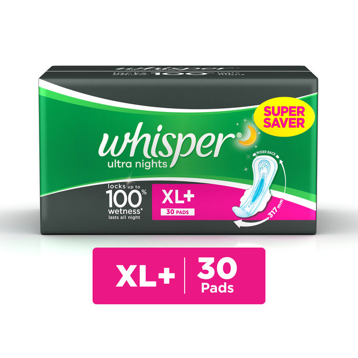 Whisper Ultra Overnight Sanitary Pads XL+ Wings 30 pc Pack