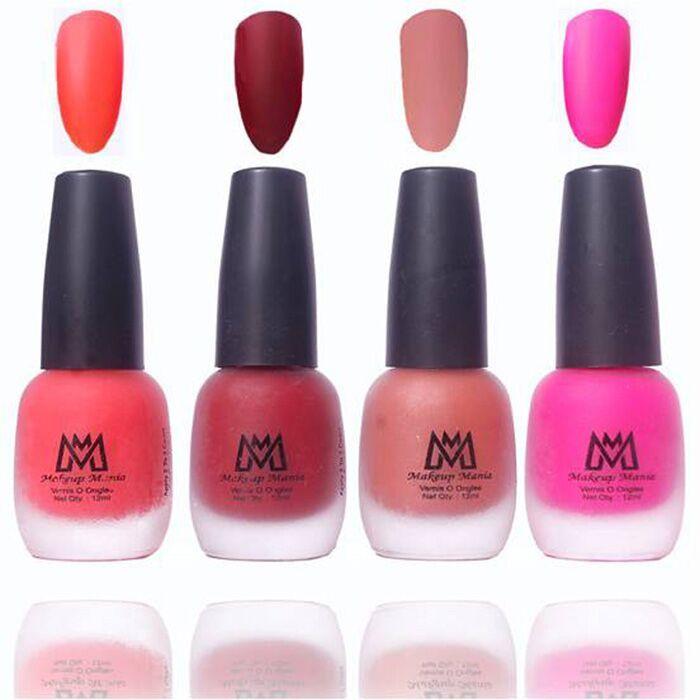 Makeup Mania Premium Nail Polish, Combo of 4 Velvet Matte Nail Paint ...