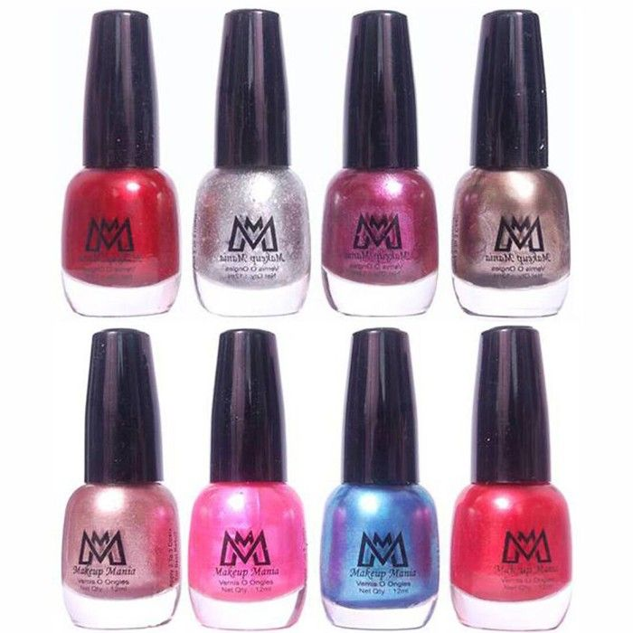 Makeup Mania Premium Nail Polish - Combo of 8 Trendy Nail Paint Set- Shiny  Maroon, Silver Glitter, Shiny Purple, Grey Silver, Pearl Silver, Shining
