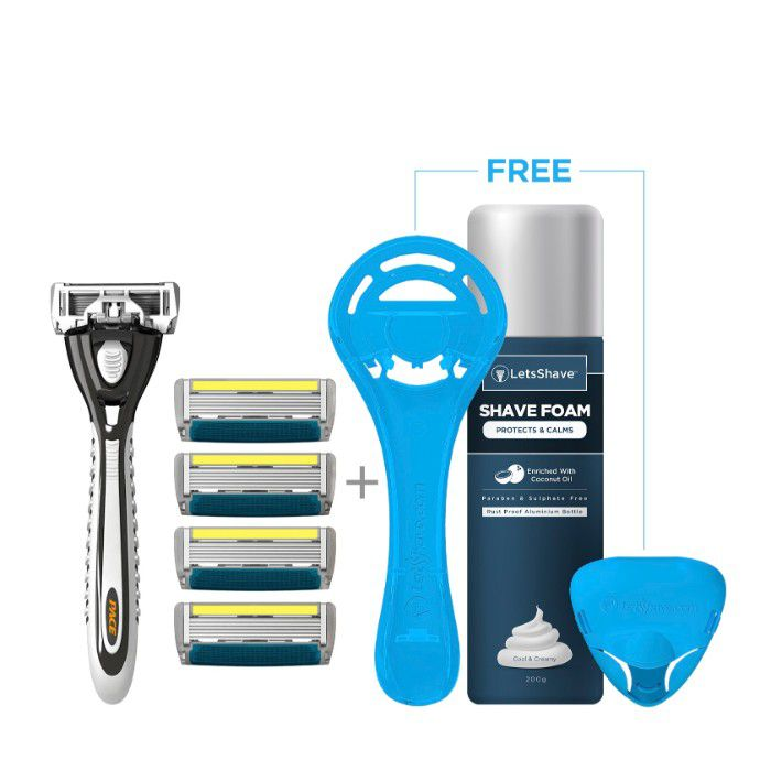 Dorco LetsShave Pace 6 Plus Shaving Kit for Men (Ultra-sharp six blade  Design + Trimmer) Pack of 4 Blades + Razor Handle + FREE (Razor Stand +  Razor