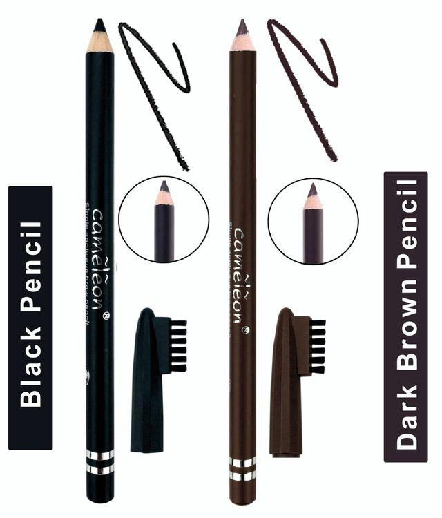 Buy Cameleon Single Apply Eyebrow Pencil With Brush (Black And Dark Brown)-Purplle