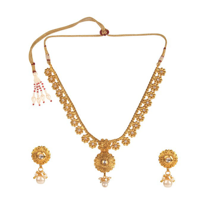 Kord Store Party Wear Gold White Stone Traditional Jewellery