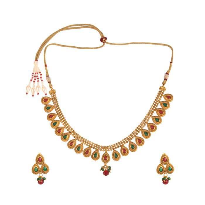 Kord Store Party Wear Gold Multicolor Stone Traditional Jewellery