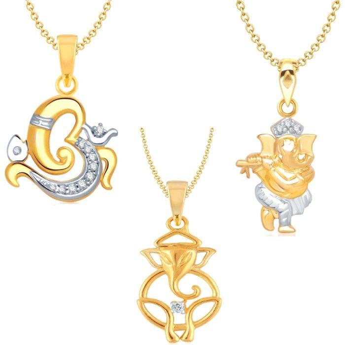 Srikara Brass Alloy Gold Plated Cz Ad Fashion Jewelry Pendant