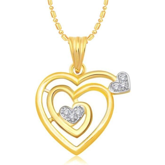 Srikara Alloy Gold Plated Ad Little Heart Stone Studded Fashion