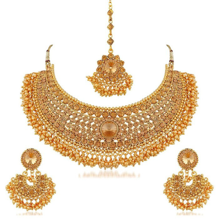 Crunchy Fashion Gold Plated Traditional Necklace Jewellery Set