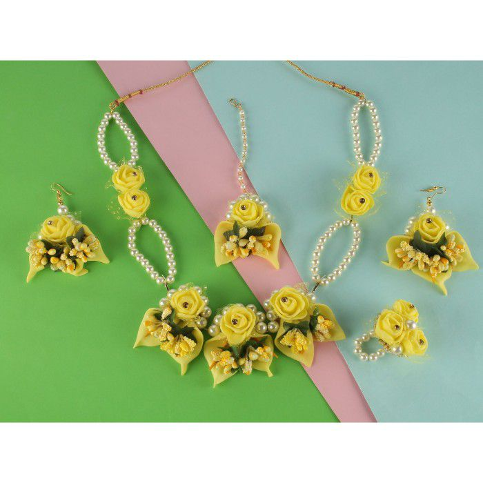 Kord Store Artificial Flower Necklace Set With Maangtika And A Pair