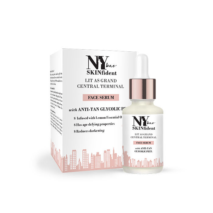 NY Bae SKINfident Serum with Glycolic Peel, Lit As Grand Central Terminal  Serum, For Tan Removal (10 ml)