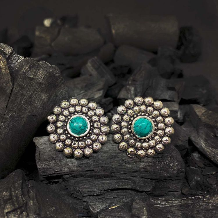 8d33fc15a Product Highlights. Ferosh Aakashi Silver Oxidizes Turquoise Stone Earrings