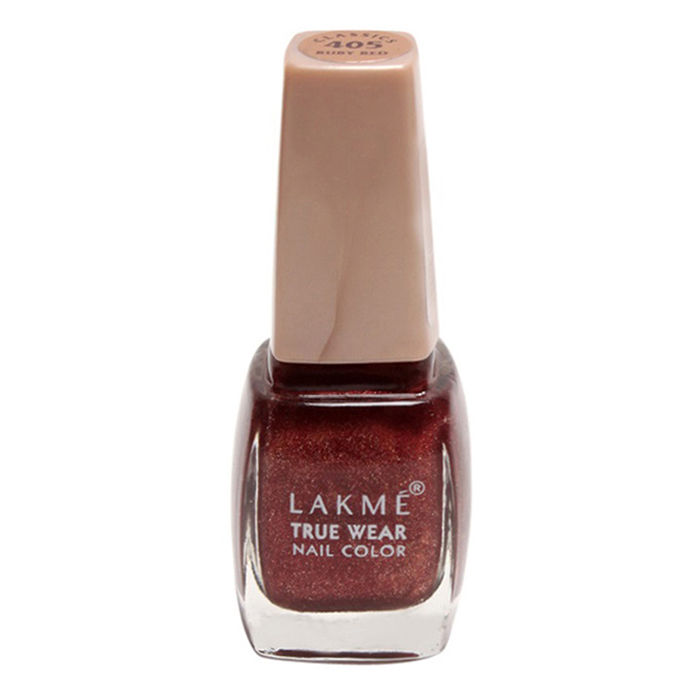 Buy Lakme True Wear Nail Color Ruby Red Shade 405 (9 ml)-Purplle