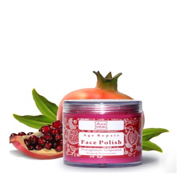 Buy Auravedic Face Care Skin Firming Face Polish with Pomegranate and Grapeseed (100 g)-Purplle