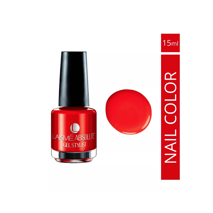Buy Lakme Absolute Gel Stylist Nail Colour Tomato Tango (15 ml)-Purplle