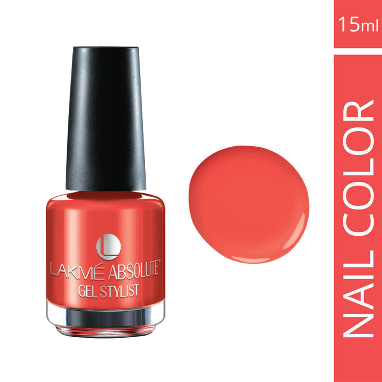 Buy Lakme Absolute Gel Stylist Nail Colour Electric Orange (15 ml)-Purplle