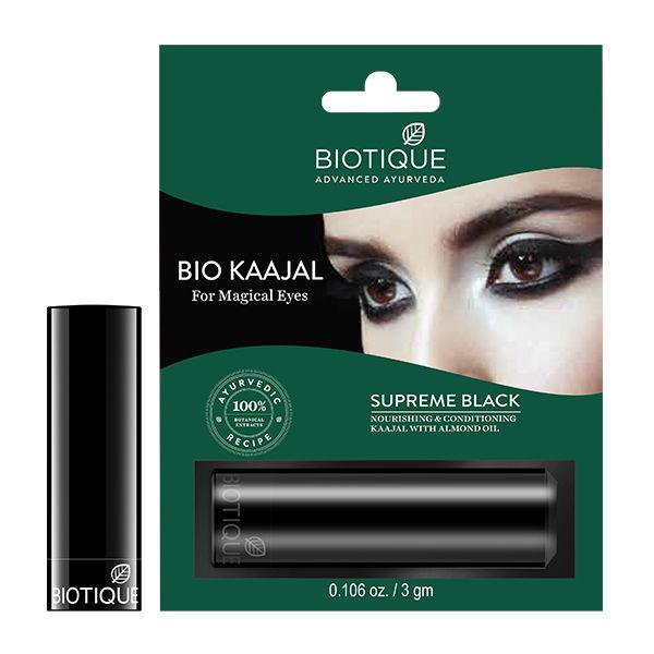 Buy Biotique Bio Kaajal Supreme Black Nourishing & Conditioning With Almond Oil (3 g)-Purplle