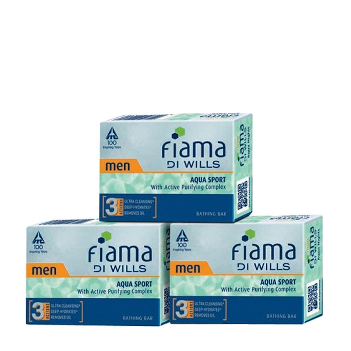Buy Fiama Di Wills Men Aqua Sport Bathing Bar (100 g X 3)-Purplle