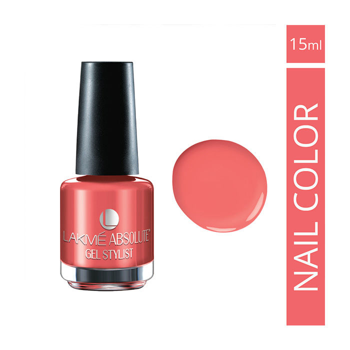 Buy Lakme Absolute Gel Stylist Nail Polish Peach Schnapps (15 ml)-Purplle