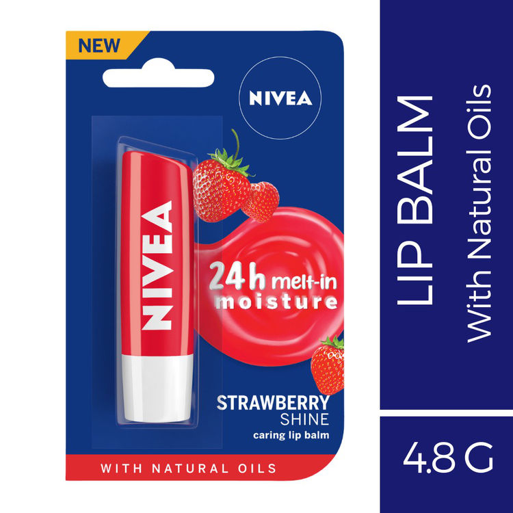 Buy Nivea Lip Balm, Fruity Strawberry Shine (4.8 g)-Purplle