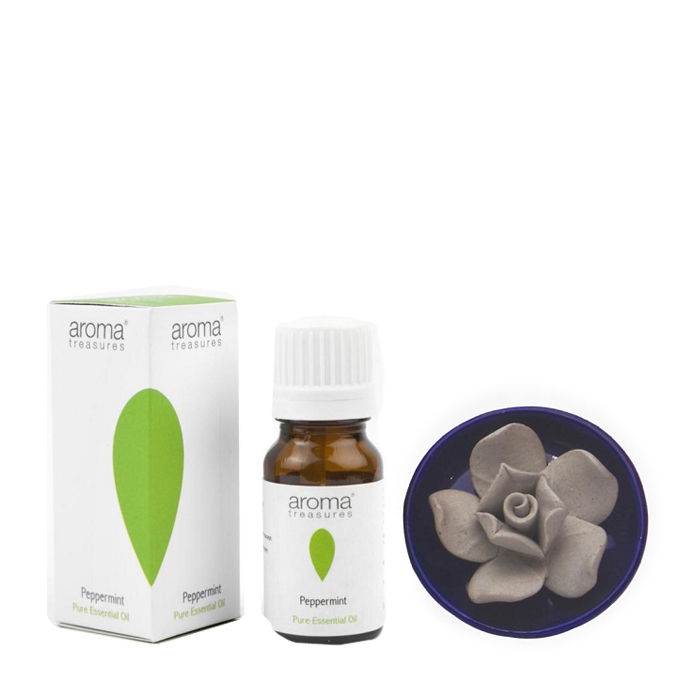 Buy Aroma Treasures Lotus Diffuser With Peppermint Essential Oil (10 ml)-Purplle