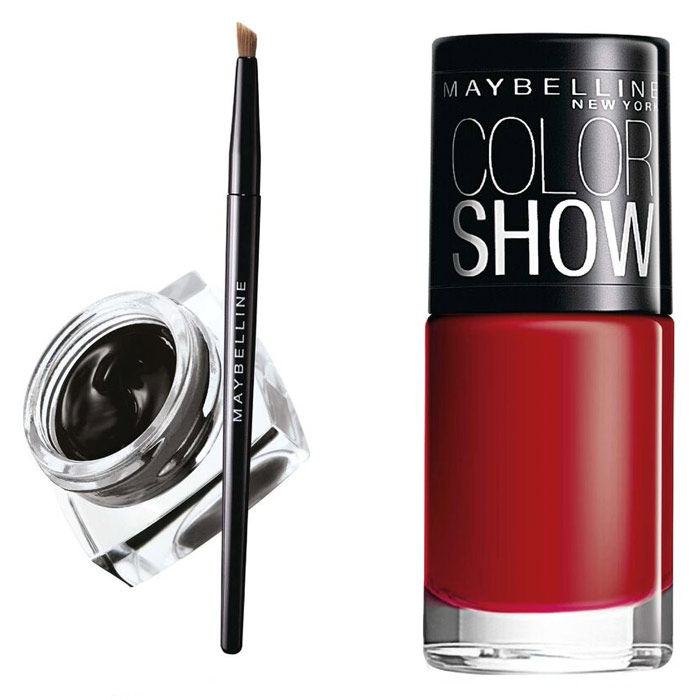 Buy Maybelline Lasting Drama Gel Liner Black (001) + Maybelline Color Show Nail Color Downtown Red 216 (6 ml)-Purplle