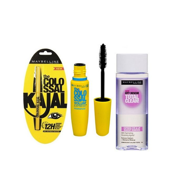 Buy Maybelline Colossal Kajal + Maybelline The Colossal Volume' Express Waterproof Mascara + Maybelline Clean Express Total Clean Make Up Remover-Purplle