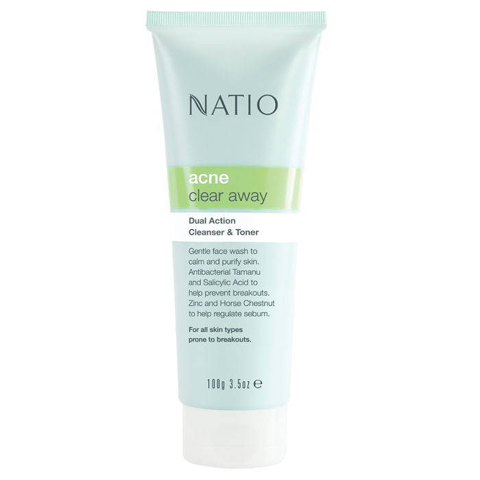 Buy Natio Acne Clear Away Dual Action Cleanser & Toner (100 g)-Purplle