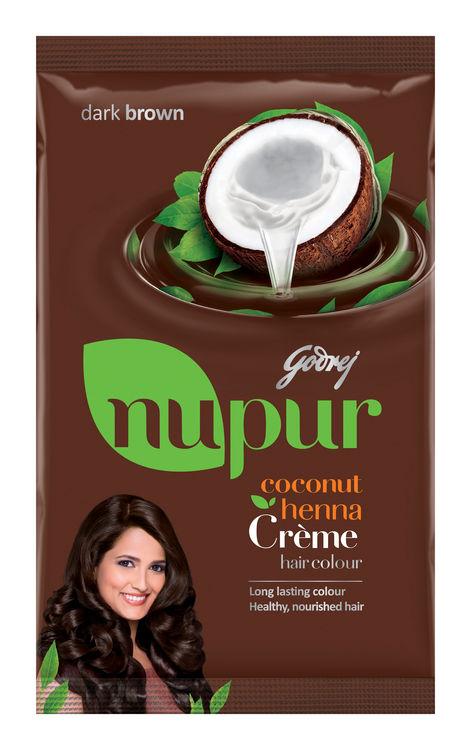 Buy Godrej Nupur Coconut Henna Creme Hair Colour Dark Brown 20gm