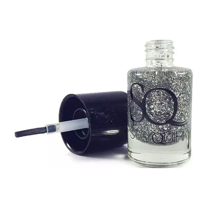 Buy Stay Quirky Nail Polish, Glitter, Silver - Flashy Mess 687 (10 ml)-Purplle