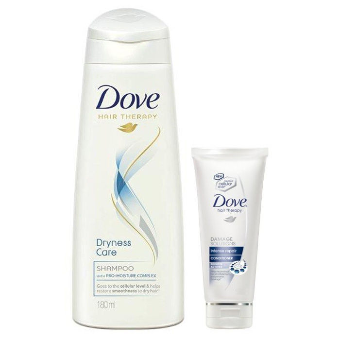 Buy Dove Hair Therapy Dryness Care Shampoo (180 ml) + (Free) Dove Hair Therapy Intense Repair Conditioner (40 ml)-Purplle